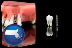 massachusetts map icon and a titanium dental implant and wisdom tooth
