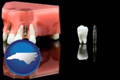 north-carolina map icon and a titanium dental implant and wisdom tooth